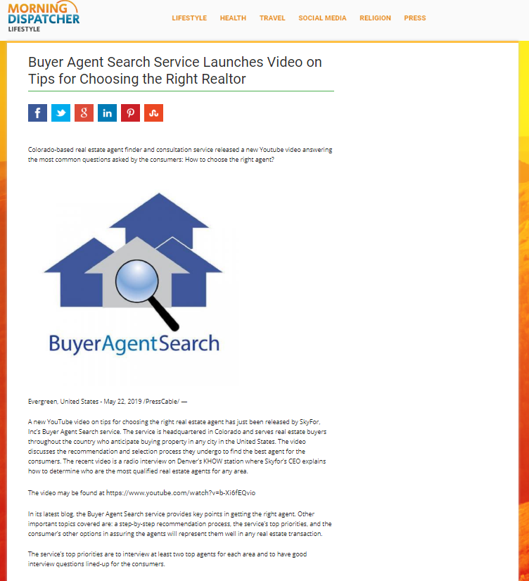Buyer Agent Search Service Launches Video on Tips for Choosing the Right Realtor