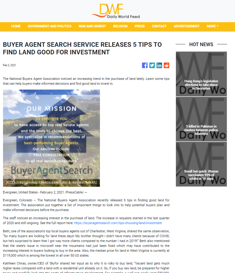 Buyer Agent Search Service Releases 5 Tips To Find Land Good For Investment