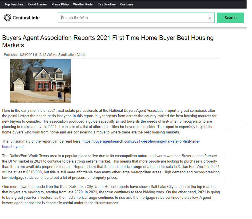 Buyers Agent Association Reports 2021 First Time Home Buyer Best Housing Markets
