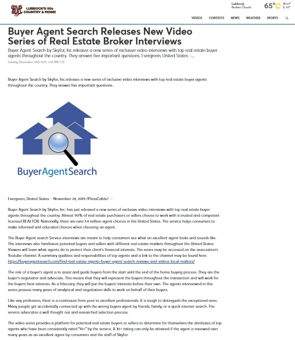 Buyer Agent Search Releases New Video Series of Real Estate Broker Interviews
