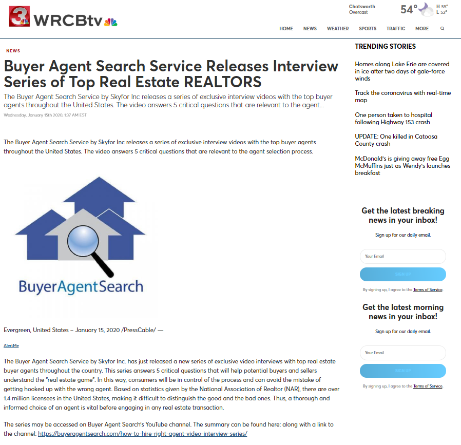 Buyer Agent Search Service Releases Interview Series of Top Real Estate REALTORS
