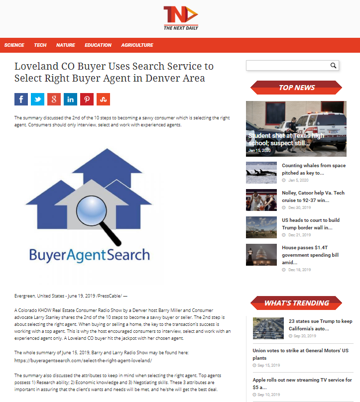 Loveland CO Buyer Uses Search Service to Select Right Buyer Agent in Denver Area
