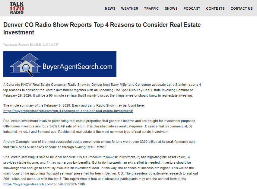 Denver CO Radio Show Reports Top 4 Reasons to Consider Real Estate Investment