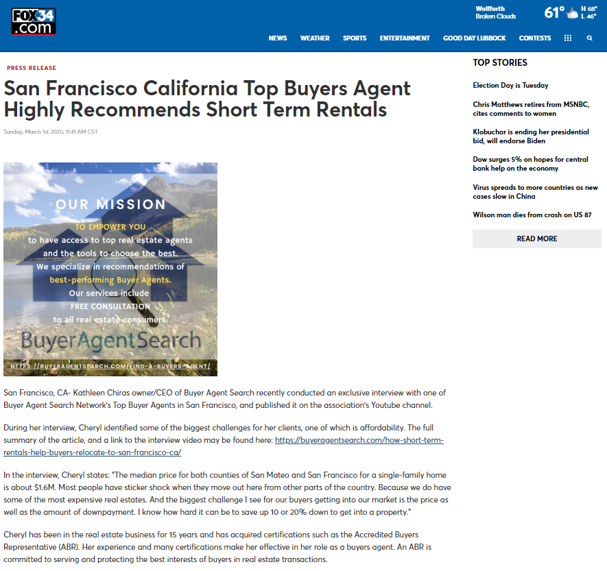 San Francisco California Top Buyers Agent Highly Recommends Short Term Rentals