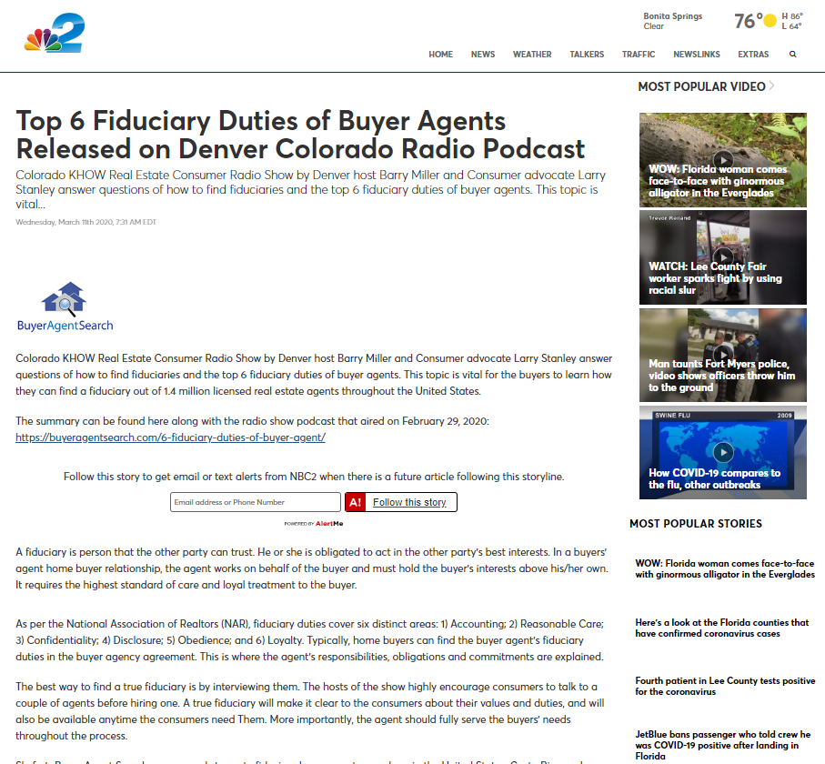 Top 6 Fiduciary Duties of Buyer Agents Released on Denver Colorado Radio Podcast
