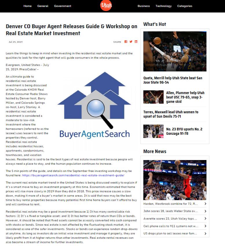 Denver CO Buyer Agent Releases Guide & Workshop on Real Estate Market Investment