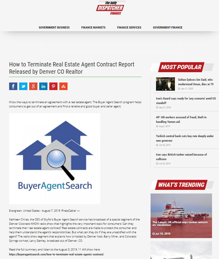 How to Terminate Real Estate Agent Contract Report Released by Denver CO Realtor