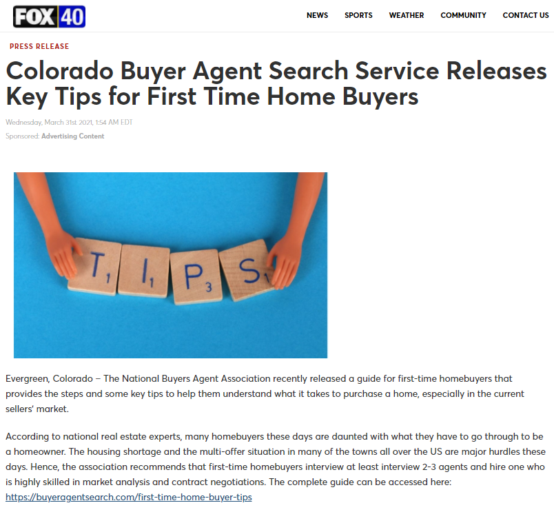 Colorado Buyer Agent Search Service Releases Key Tips For First Time Home Buyers