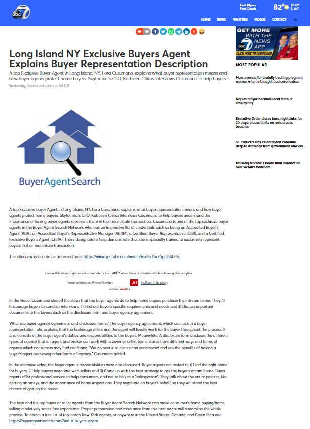 Long Island NY Exclusive Buyers Agent Explains Buyer Representation Description