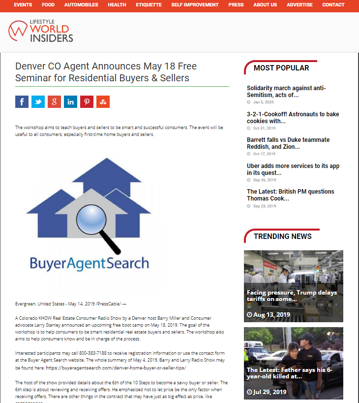 Denver CO Agent Announces May 18 Free Seminar for Residential Buyers & Sellers