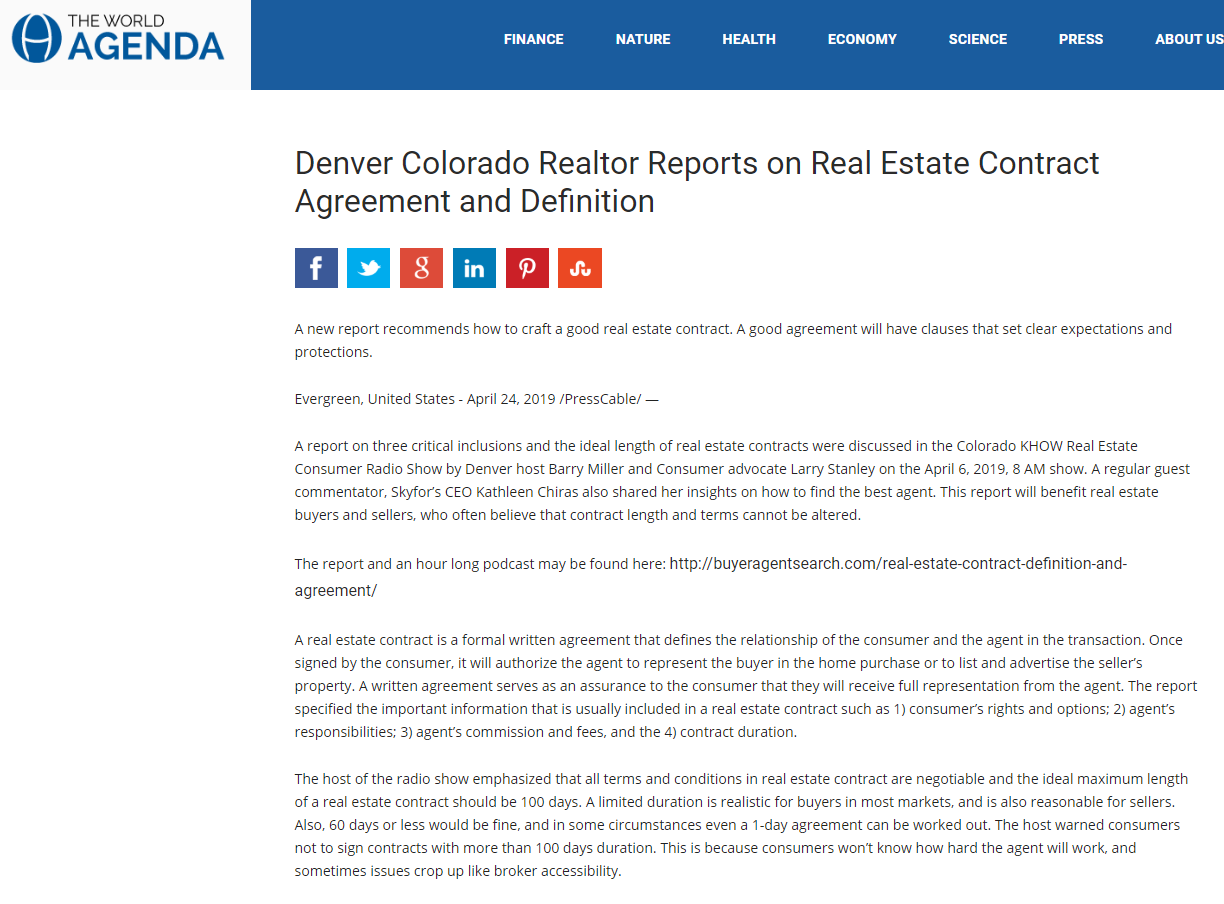 Denver Colorado Realtor Reports on Real Estate Contract Agreement and Definition