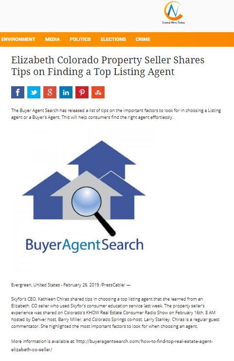 Elizabeth Colorado Property Seller Shares Tips on Finding a Top Listing Agent