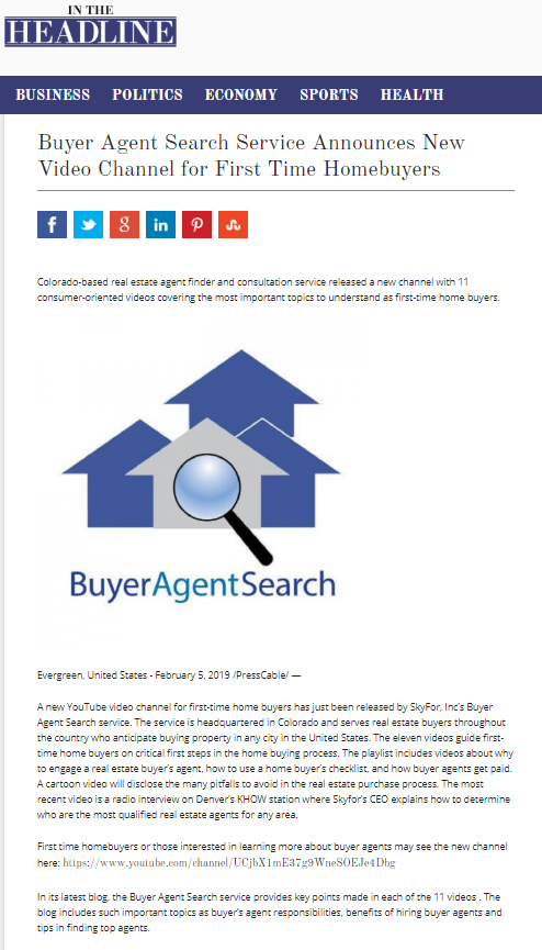 Buyer Agent Search Service Announces New Video Channel for First Time Homebuyers