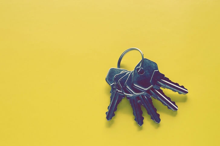 Keys on yellow background