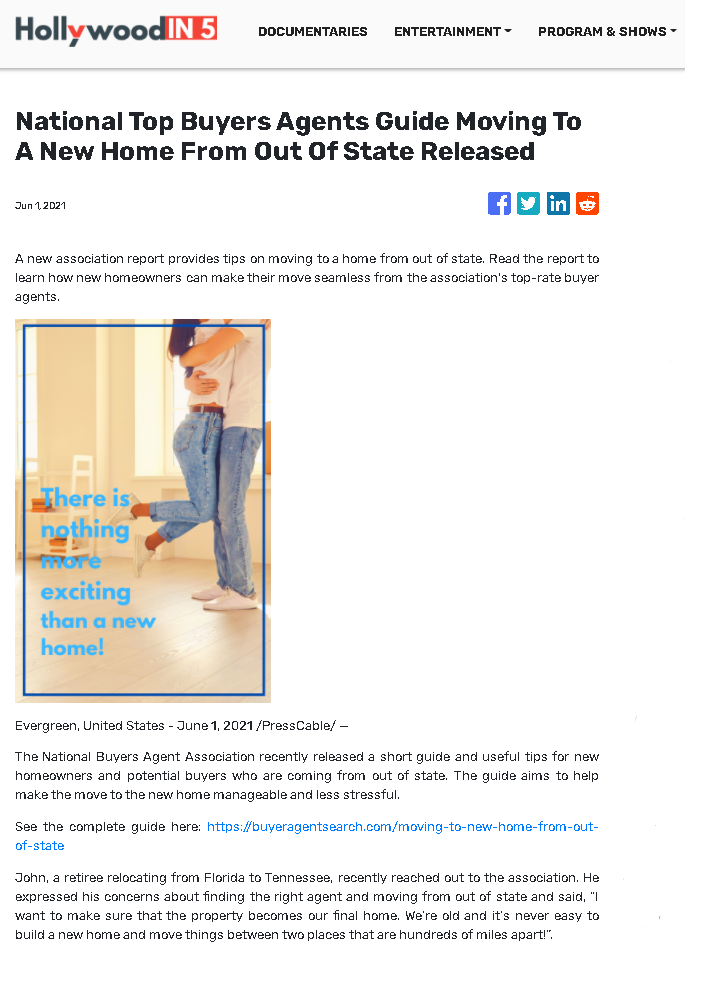 National Top Buyers Agents Guide Moving To A New Home From Out Of State Released