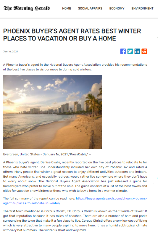 Phoenix Buyer's Agent Rates Best Winter Places To Vacation Or Buy A Home