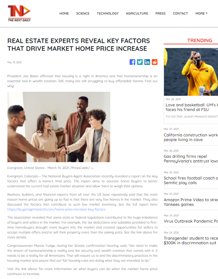 Real Estate Experts Reveal Key Factors That Drive Market Home Price Increase