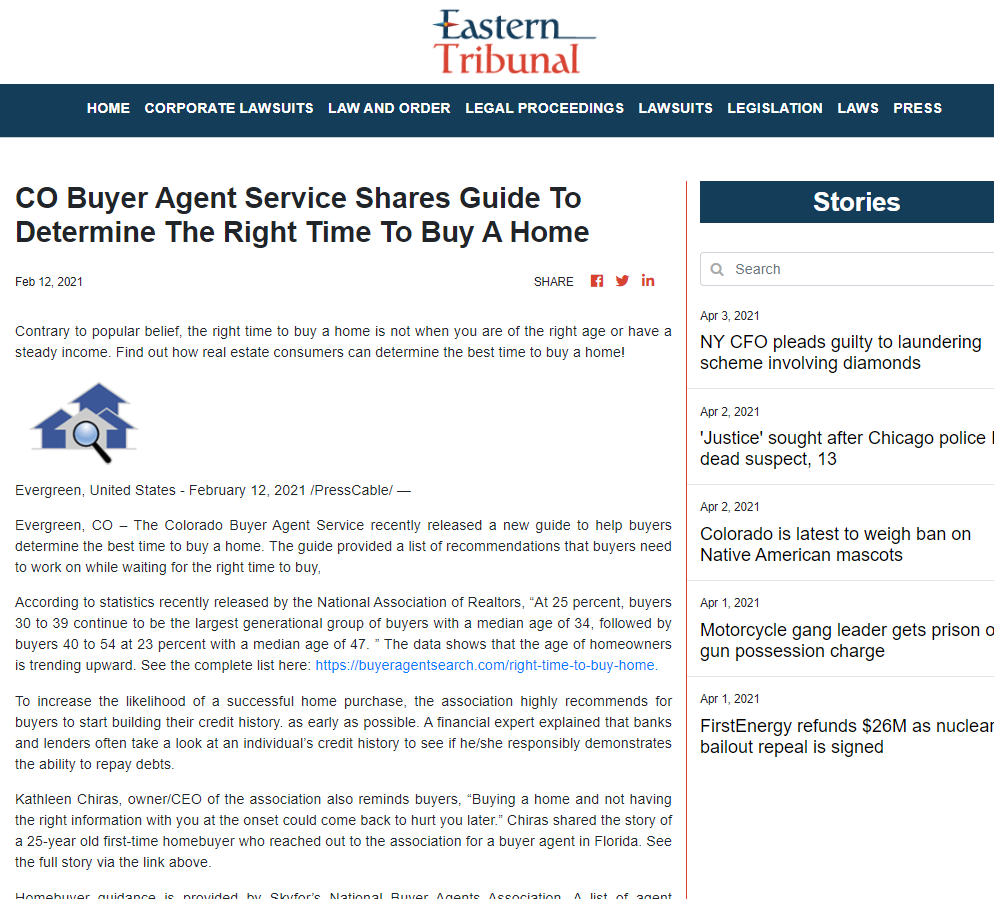 CO Buyer Agent Service Shares Guide To Determine The Right Time To Buy A Home